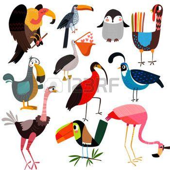 cartoon flamingo: Big set of different wild birds.