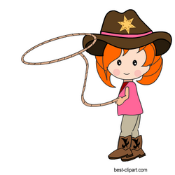 Cowgirl with a lasso, free clip art image.