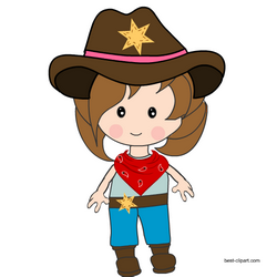 Cowgirl standing in western dress clipart.