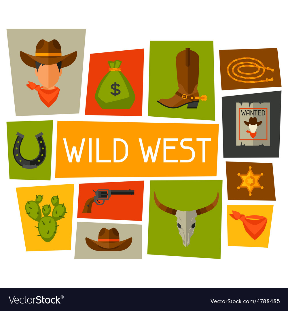 Wild west background with cowboy objects and.