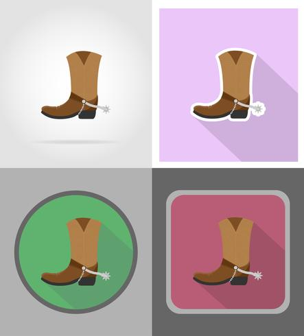 cowboy boots wild west flat icons vector illustration.