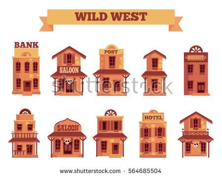 Wild West building set for game level and background in.