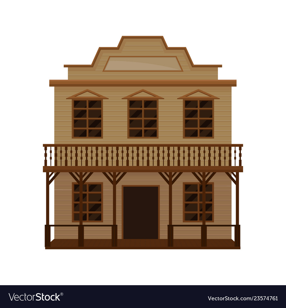 Old wild west saloon with porch balcony and blank.