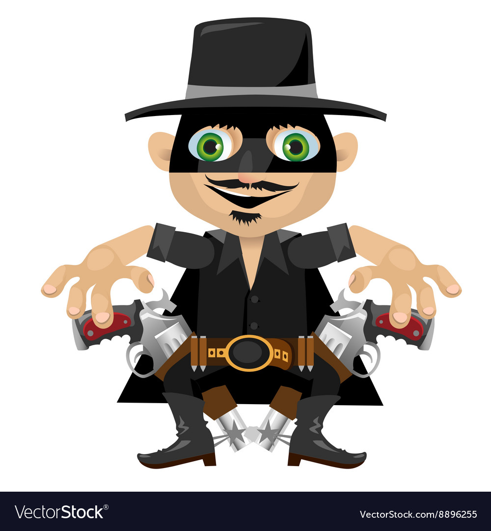 Cartoon character in Wild West style robber.