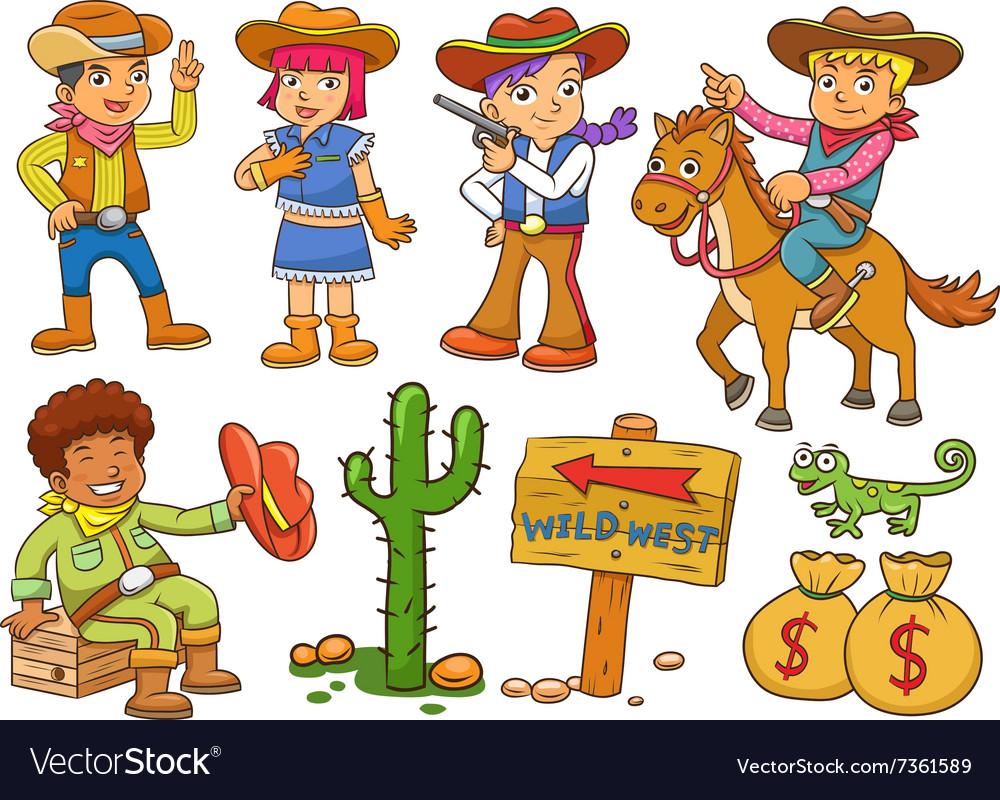 Cowboy Wild West child cartoon.