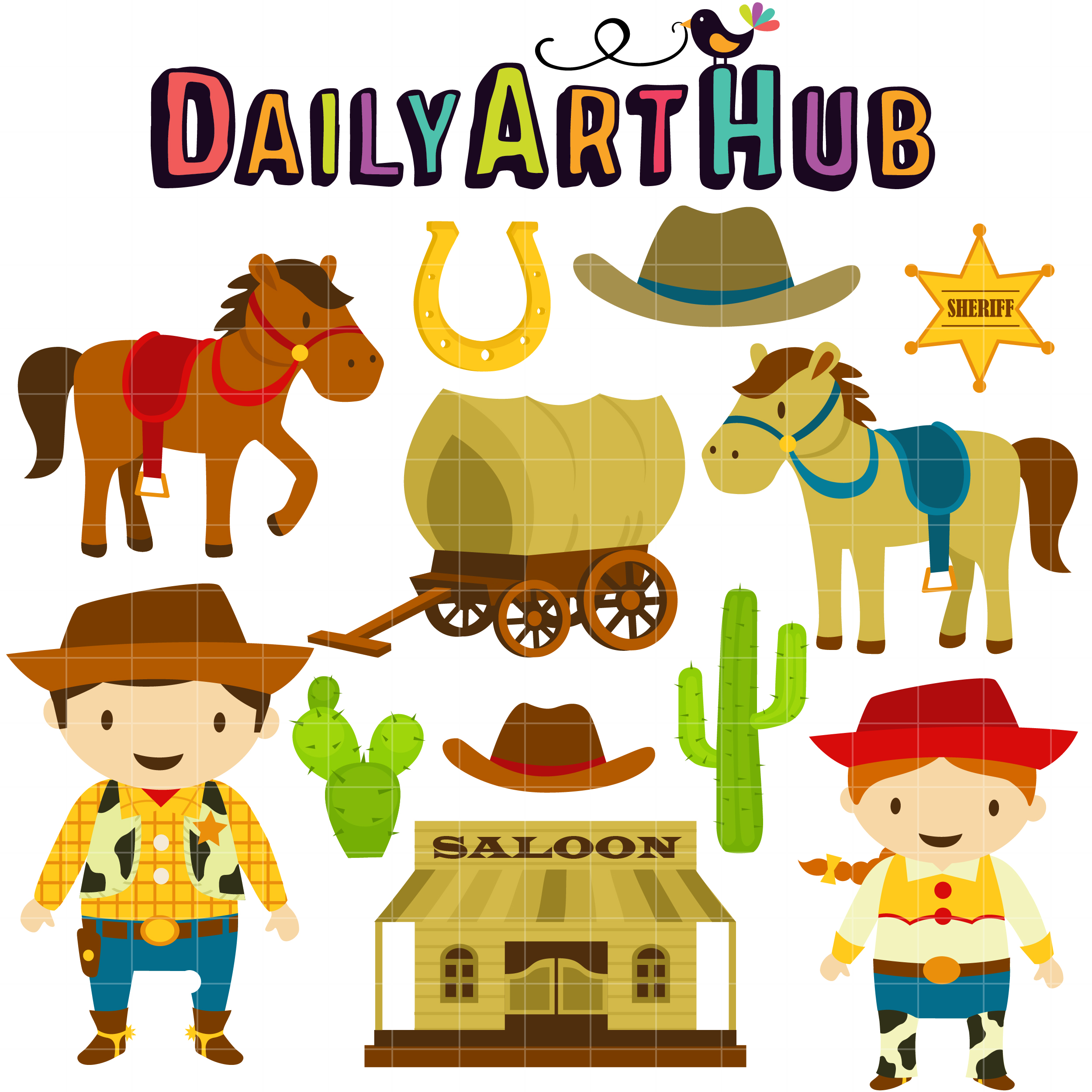 Wild West Cowboy Clip Art Set.