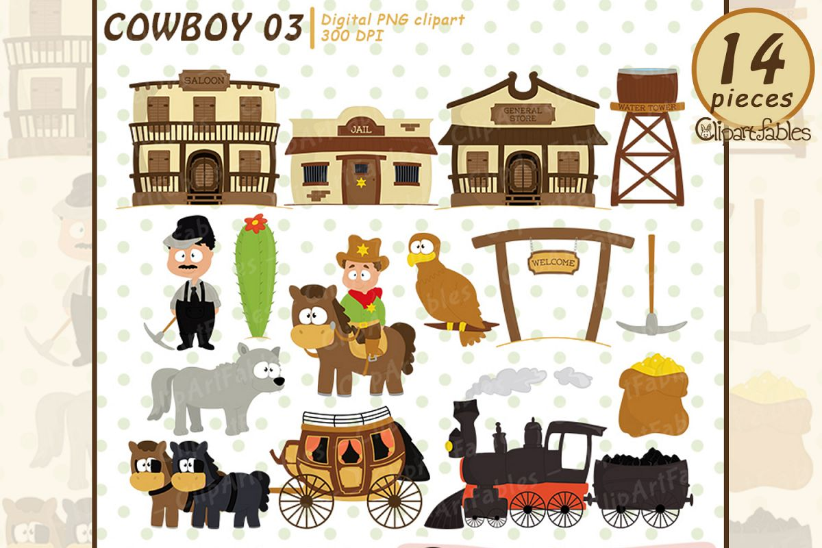 Wild west clipart, cute western city clip art.