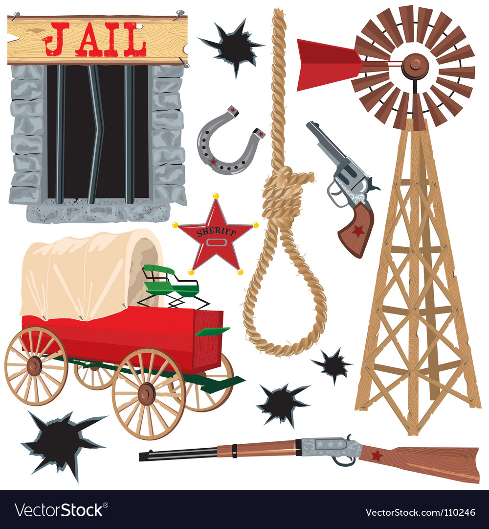 Wild west clip art icons.