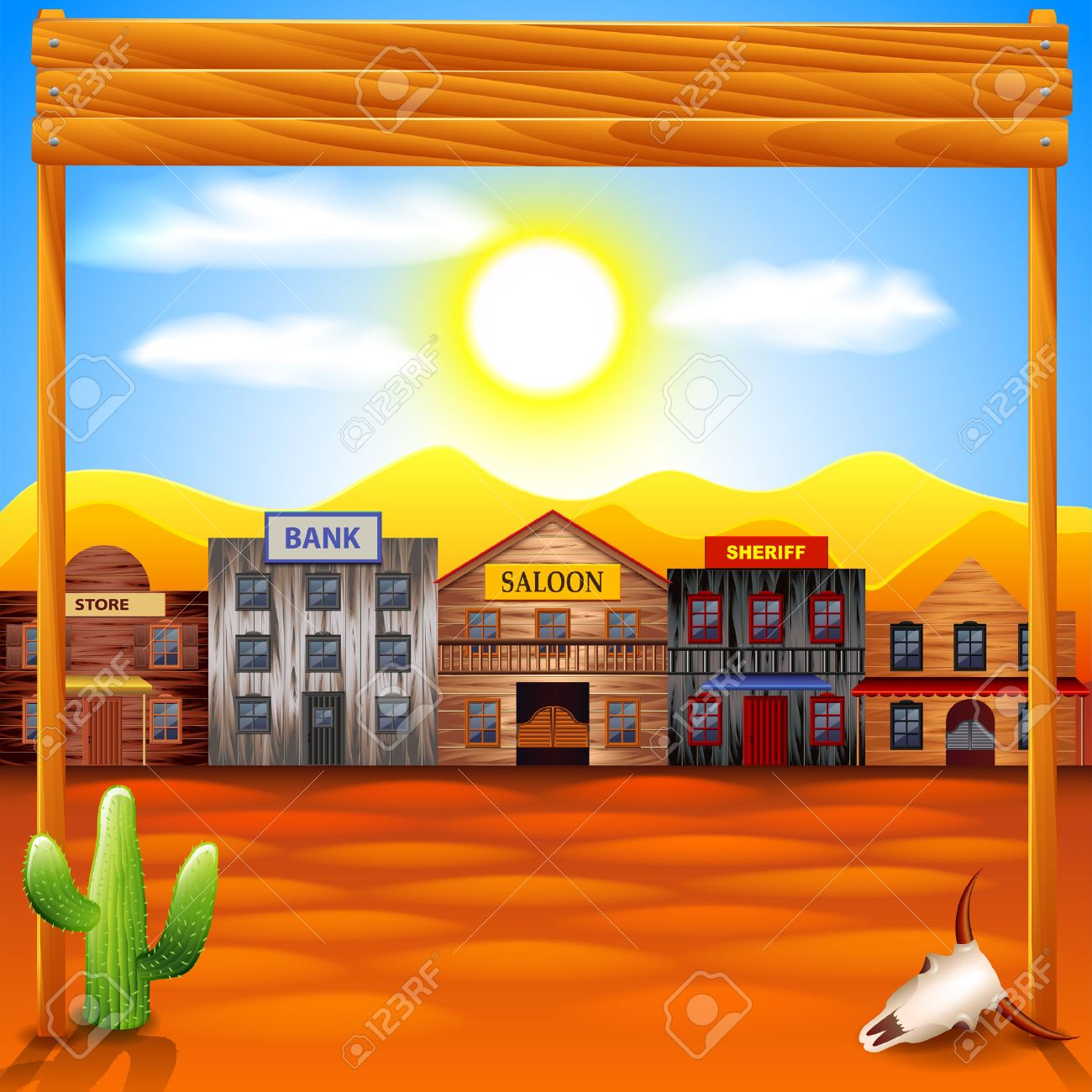 Wild west town panorama photo realistic vector background.