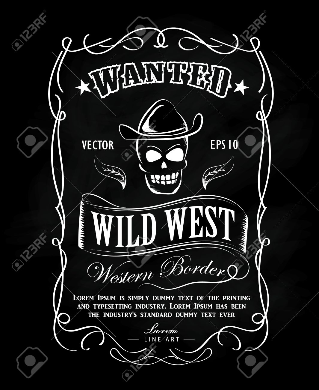 Vintage frame label blackboard hand drawn western border vector...
