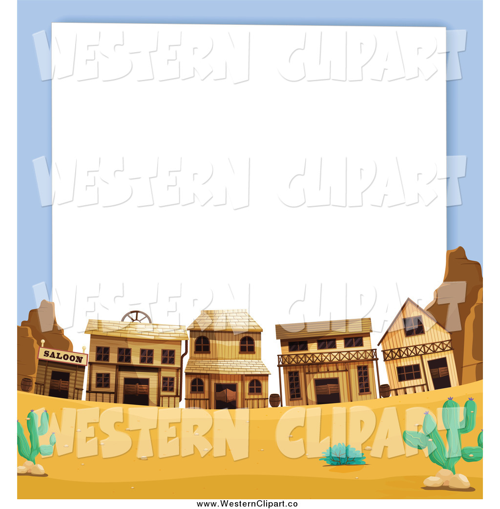 Vector Clip Art of a Wild West Ghost Town Frame by Graphics.
