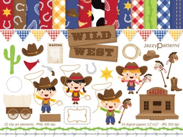 Wild West clip art and digital paper pack.