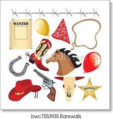 Cowboy Wild West Birthday Clipart art print poster.