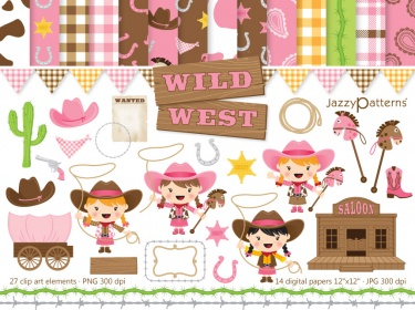 Girly Wild West clip art and digital paper pack.