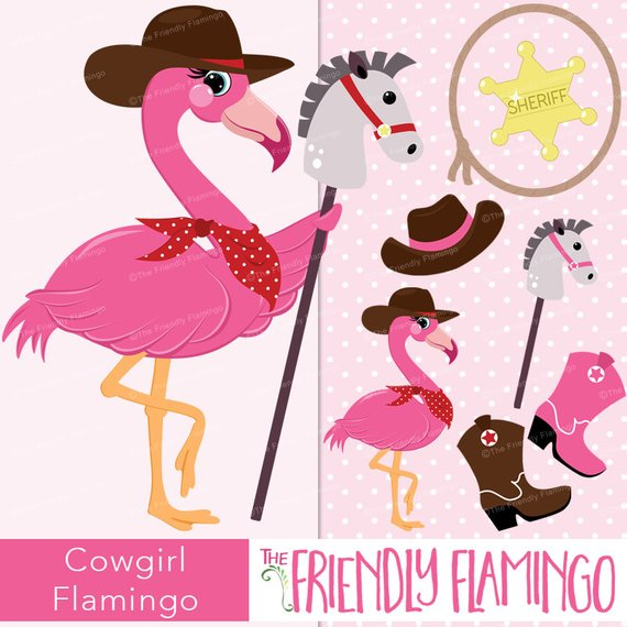Cowgirl flamingo clipart, pink girl flamingo, sheriff, horse.