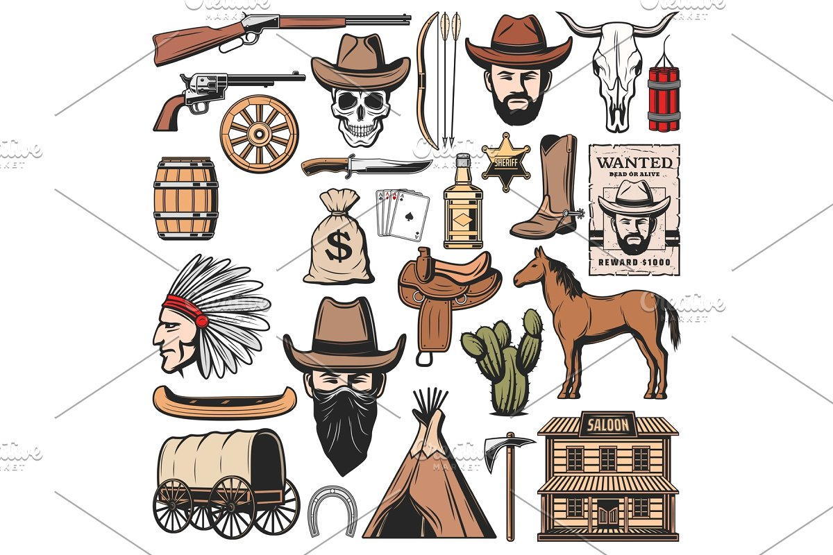 Wild West and western American icons.
