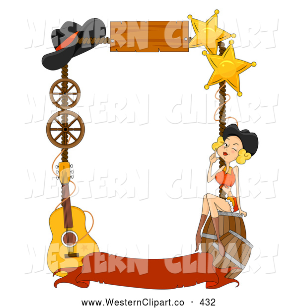 Vector Western Clip Art of a Wild West Frame of Barrels, a.