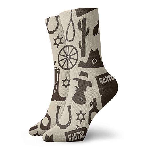 Old West Cowboy Clipart Women Dress Socks Fun Short Casual.