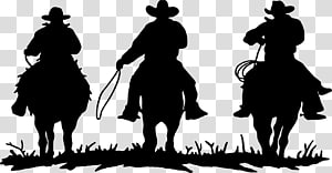 Three cowboys silhouette , American frontier Cowboys & Rodeo.