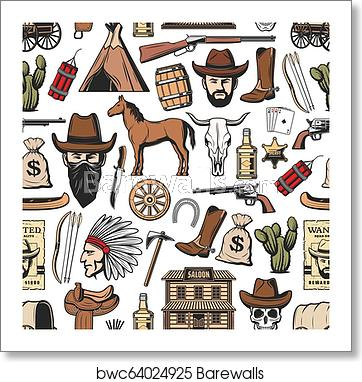 Wild West cowboy, sheriff, indian. Western pattern art print poster.