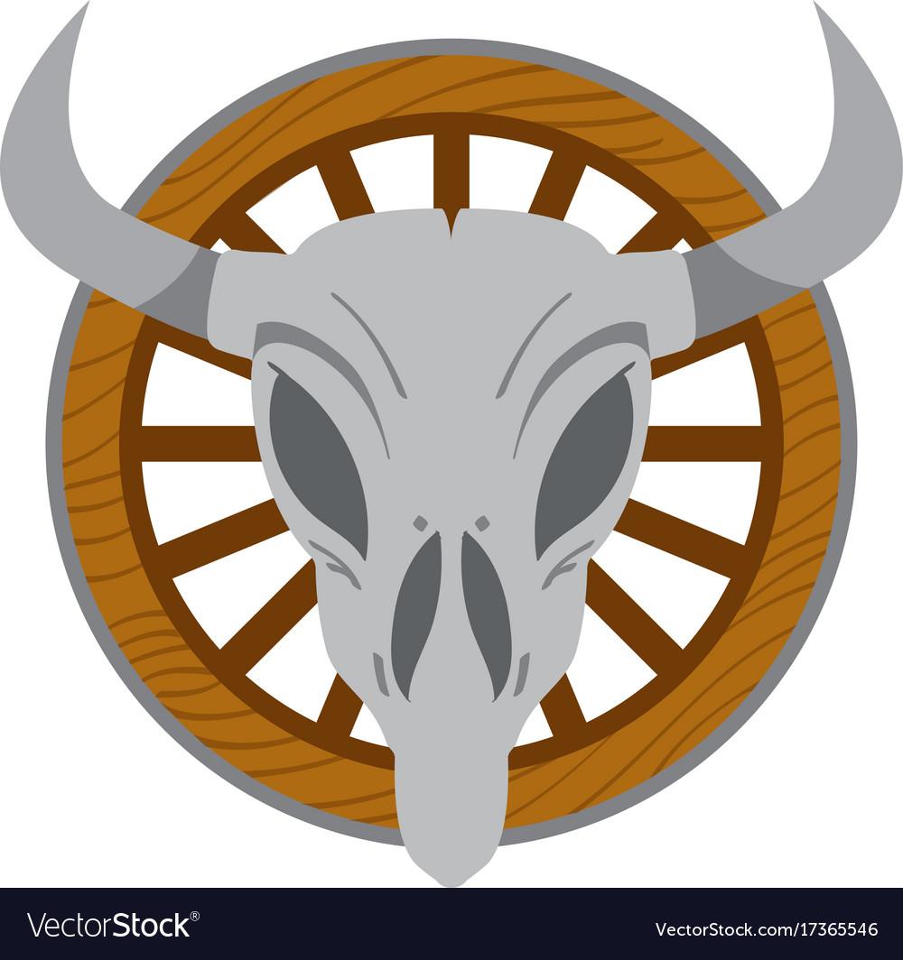 Cow skull on a wheel wild west theme tattoos.