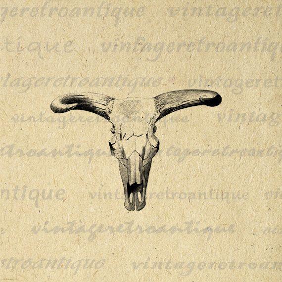 Western Skull Digital Image Download by VintageRetroAntique.