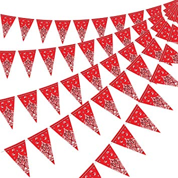 5 Pack Bandana Pennant Banner, Wild West Party Accessory for Western Cowboy  Party Themed Decoration, 7.4 x 10.8 Inch.