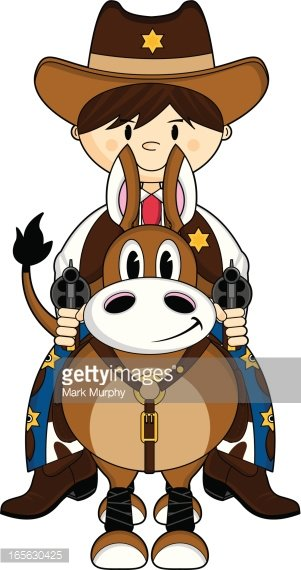 Cute Wild West Cowboy on Horse Clipart Image.