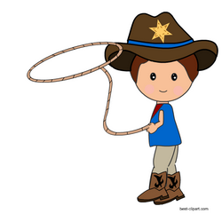Cowboy with a Lasso rope clip art.