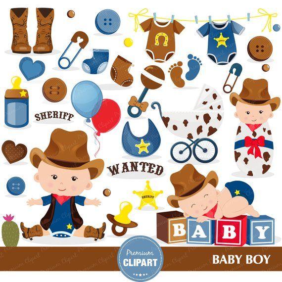 Cowboy baby shower clipart, Baby shower clipart, Wild West.