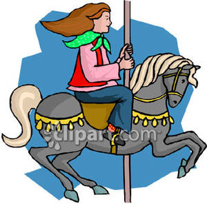 Girl Riding Gray Carousel Horse.