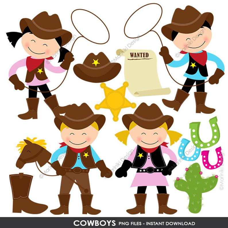 Cowboy Clipart, Cowgirl Clip Art, Wild West, Western Clipart for  Invitations Scrapbook INSTANT DOWNLOAD CLIPARTS C78.