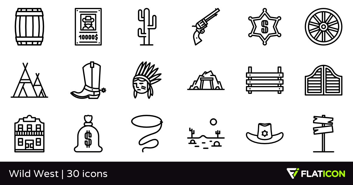 Wild West 30 free icons (SVG, EPS, PSD, PNG files).