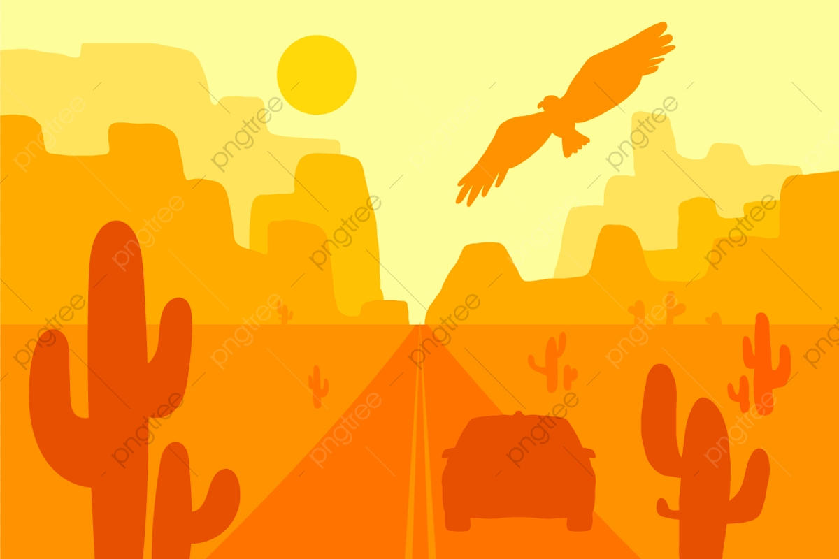 Desert Landscape With Eagle Car Cactus And Sun Wild West, Wild, West.