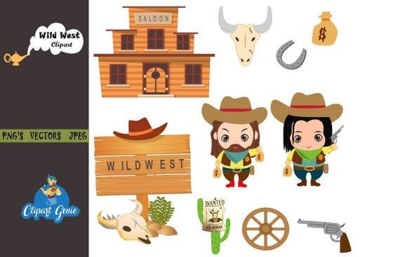 Cowboy Clipart, Wild West clipart, Cowboy boots, sheriff.