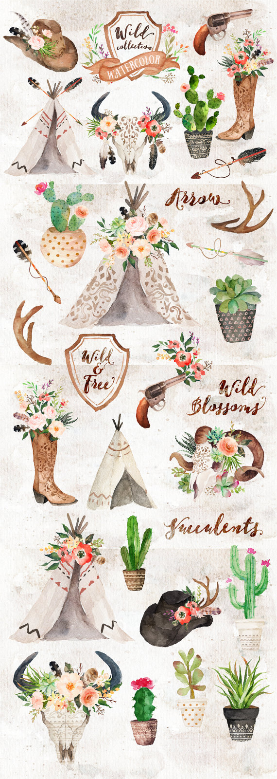 Watercolor Wild West Collection/Wedding/Clip art collection.