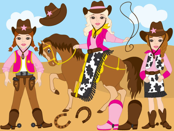 70% OFF SALE CowGirl Clipart Digital Vector Wild West.