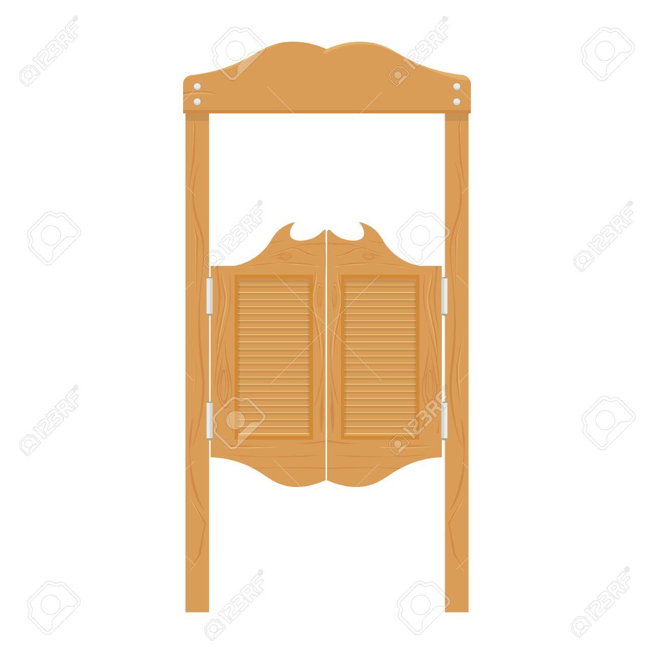 Doors in western saloon wild west vector illustration.