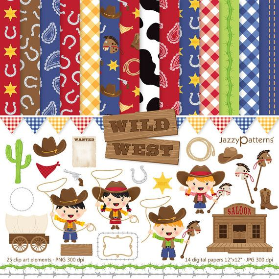 Wild West cowboy and cowgirl clipart and digital papers for.