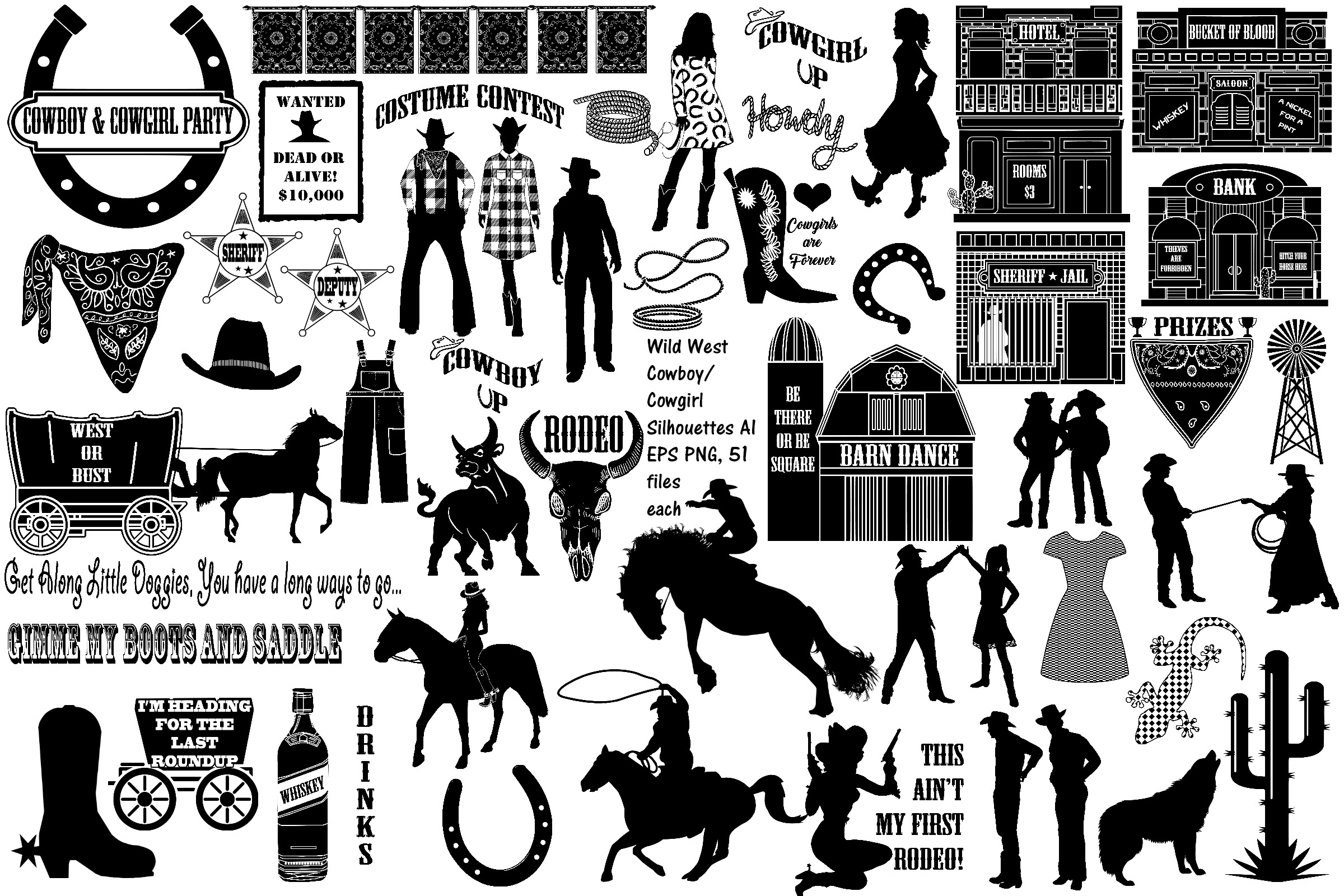 Wild West Cowboy Silhouettes AI EPS Vector & PNG.