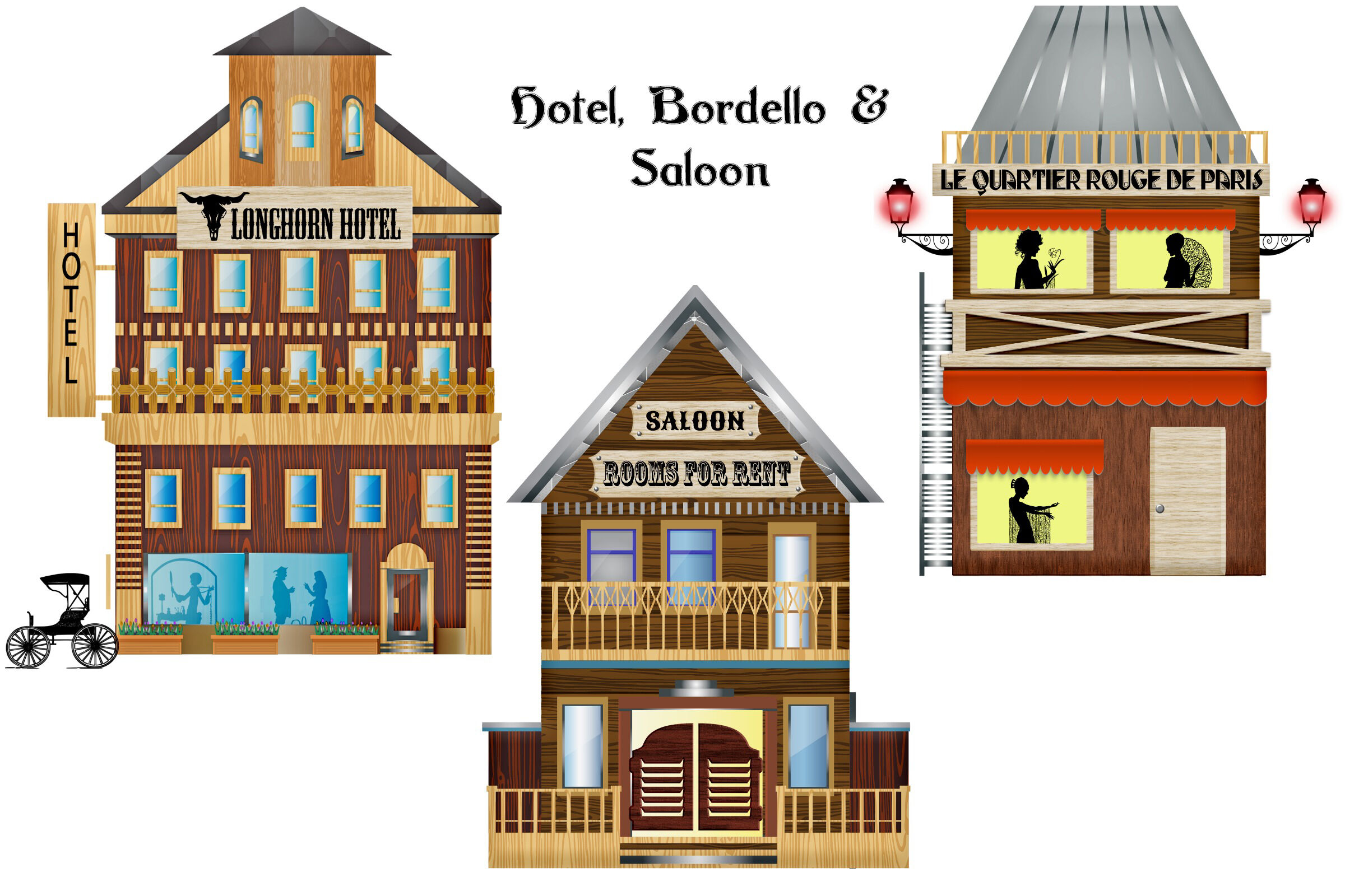 Wild West Town and Elements Clip Art By Me and Ameliè.