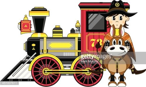 Cowboy on Horse & Wild West Train Clipart Image.