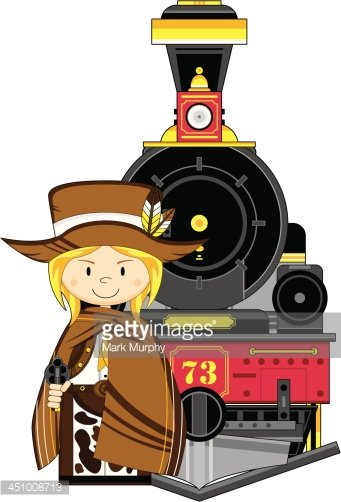 Cute Cowgirl & Wild West Train Clipart Image.