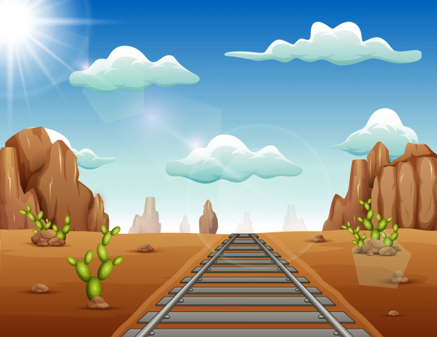 Train track in wild west background Vector.
