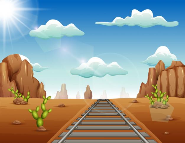 Train track in wild west background Vector.