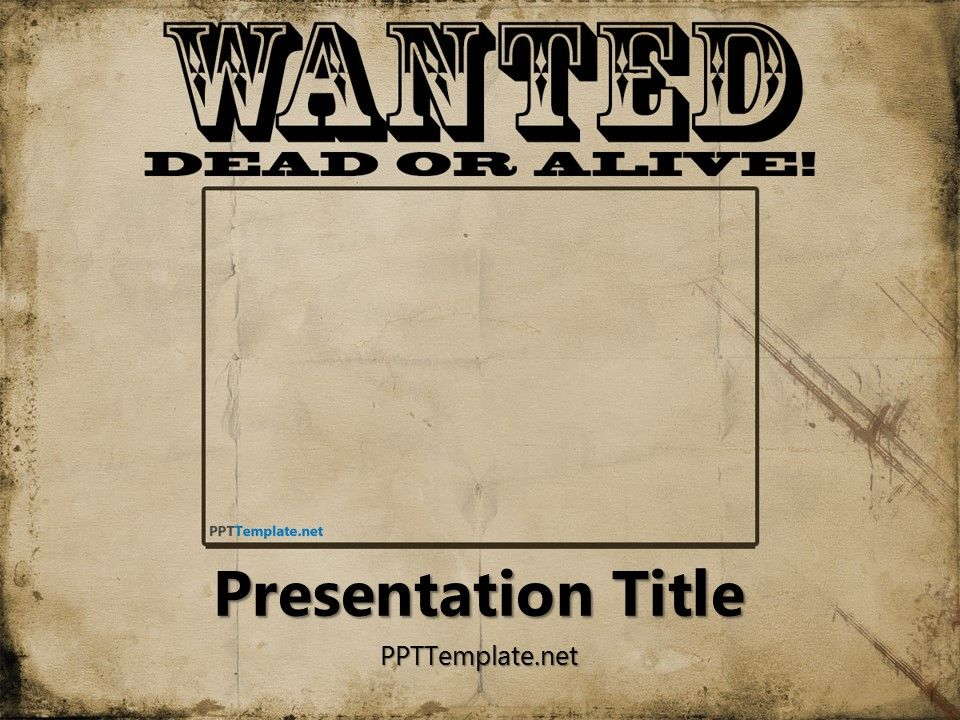 Free Wanted Poster Template for PowerPoint has a wanted.