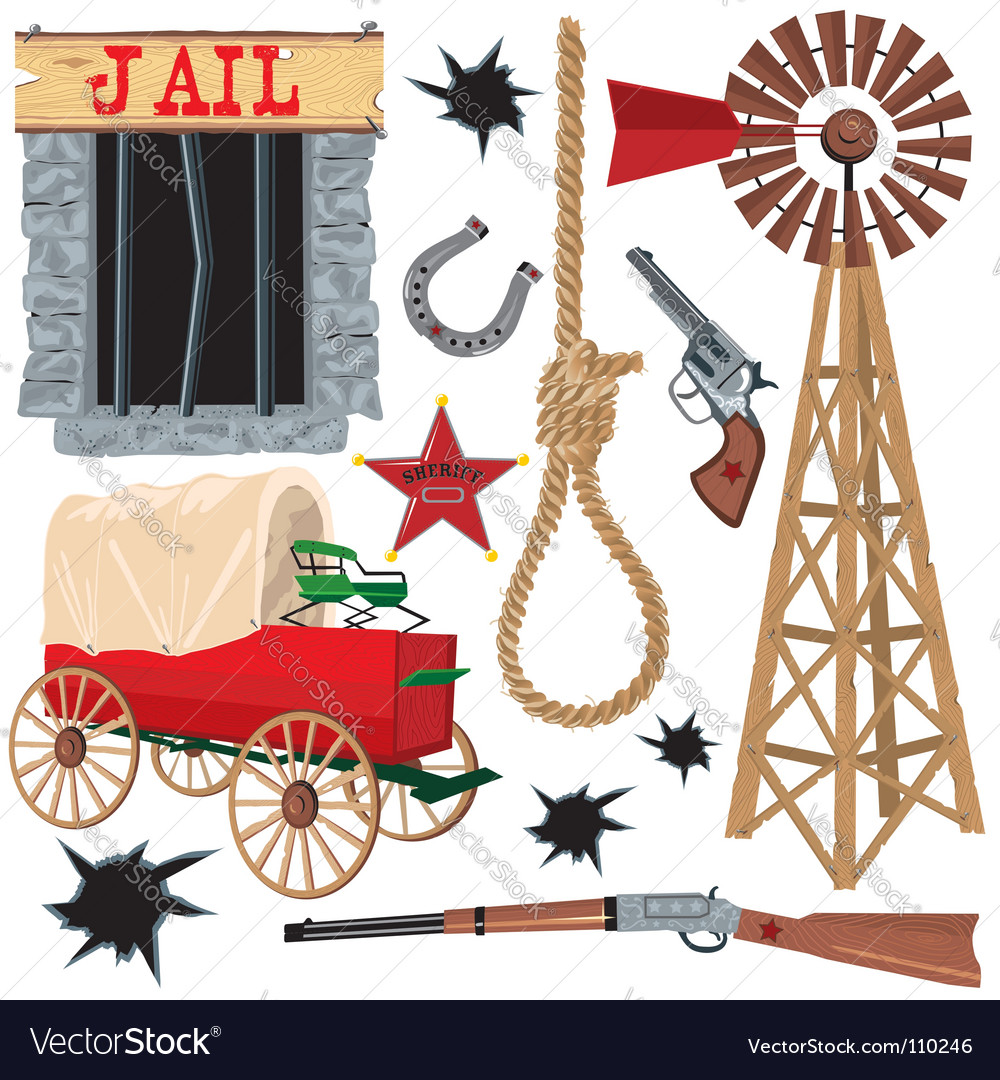 Wild west clip art icons Royalty Free Vector Image.