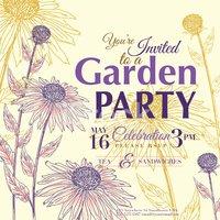 Coneflower Design Garden Party Invitation stock vectors.