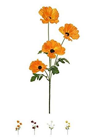 Wild Meadow Poppy Spray Silk Flower Stem 4 Heads Quality Artificial Flowers  In a (Orange).