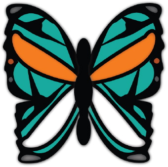 Wild Blue And Orange Butterfly clip art.